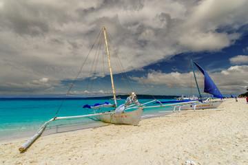 Nov 18,2017 Boats moored on the Puka beach in Boracay