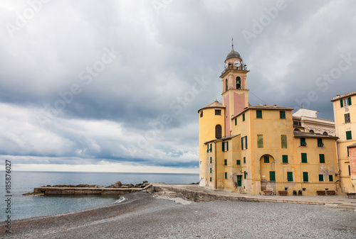 Fotobehang Liguria Bad weather in Camogli, Italy