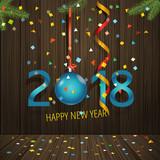 Happy new 2018. Holiday scene vector concept