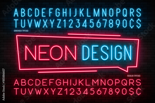 Neon light alphabet, realistic extra glowing font. 2 in 1 - 185886607