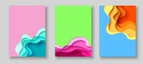 Cover or flyer template with abstract paper cut blue green pink yellow background. Vector template in carving art style - 185895627