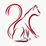 A cat painted in flowing lines - 185896091