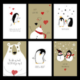 Set Of Love Cards With Animals.