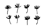 Set of hand drawn simple brush paint flowers painted by ink. Grunge style elements. Black isolated vector on white background.
