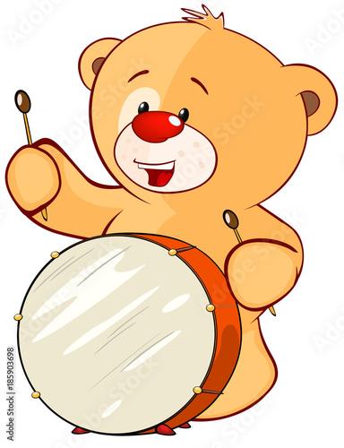 Plexiglas Babykamer Illustration of a Stuffed Toy Bear Cub Drummer. Cartoon Character
