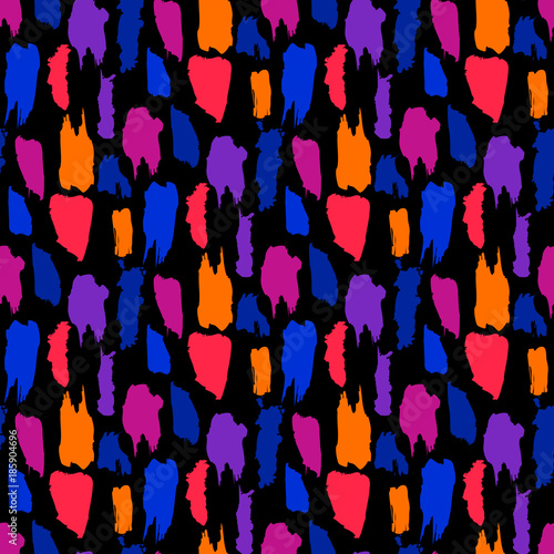Cotton fabric Abstract brush strokes seamless pattern with neon color.