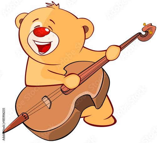 Plexiglas Babykamer Illustration of a Stuffed Toy Bear Cub Violinist Jazz Bassist. Cartoon Character