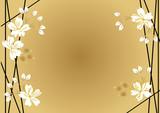 和柄の壁紙。フレーム素材。桜の花のフレーム。春の背景素材。