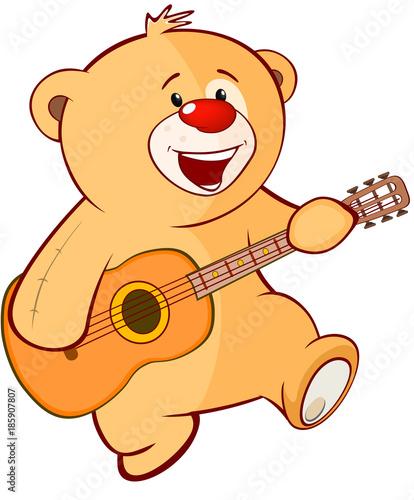 Plexiglas Babykamer Illustration of a Stuffed Toy Bear Cub Guitarist. Cartoon Character