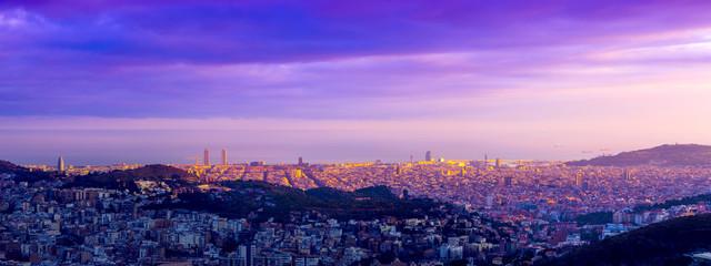 Barcelona skyline at the golden hour
