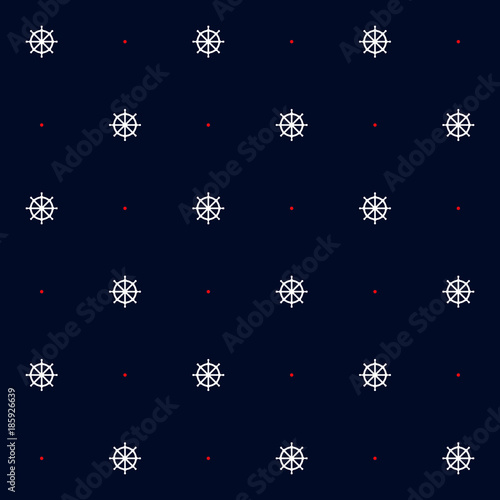 Cotton fabric Seamless vector pattern with steering wheel and red dots in blue background. Marine, nautical  motif.