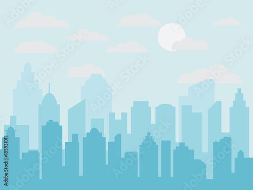 Abstrakcjonistyczna miasto budynku linia horyzontu z drogą i trawą. Sylwetka budynków. Miejski krajobraz. Pejzaż tło w stylu płaski. Nowoczesny krajobraz miasta.