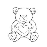 Teddy bear toy with heart coloring book vector