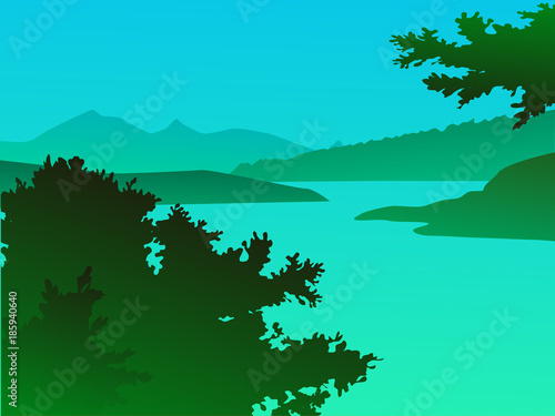 Foto op Aluminium Groene koraal Vector green landscape with mountains - for card, background, banner, website, animation