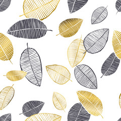Vector seamless pattern with hand drawn golden, black, white watercolor and ink leaves. Trendy scandinavian design