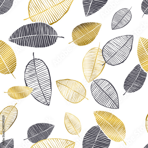 Vector seamless pattern with hand drawn golden, black, white watercolor and ink leaves. Trendy scandinavian design - 185941829