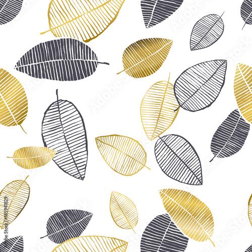 wektor-wzor-z-recznie-rysowane-zlote-czarne-biale-akwarela-i-atrament-lisci-modny-skandynawski-design