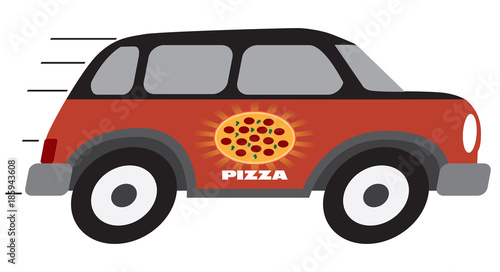 Fotobehang Auto A cartoon pizza delivery vehicle is speeding towards it's destination