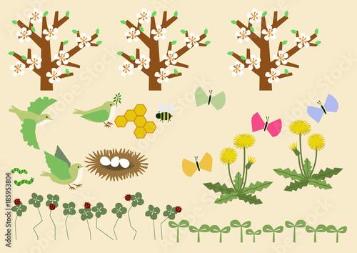 春のイラスト素材春のイメージ素材カレンダーのクリップアート