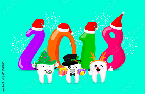 Cute cartoon tooth character set. Happy new year of twenty eighteen. Dental care concept.  Illustration isolated on green background. - 185962839