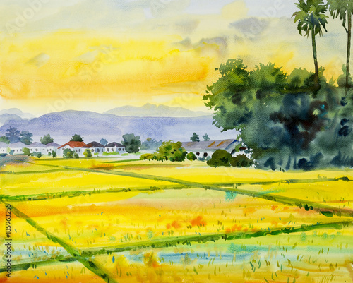 Keuken foto achterwand Geel Watercolor landscape painting colorful of village and rice field.