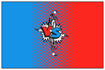 Blue and red versus logo with halftone effect. Vector VS icon.