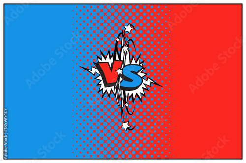 Fotobehang Pop Art Blue and red versus logo with halftone effect. Vector VS icon.