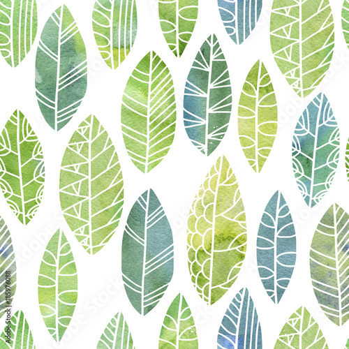Fototapeta seamless pattern with decorative leaves