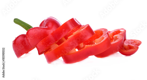 pepper sweet red sliced isolated on a white background - 185981032