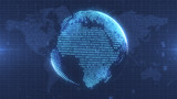 Digital blue planet Earth formed from numbers