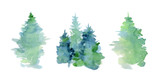 Fototapety Watercolor abstract woddland, fir trees silhouette with ashes and splashes, winter background