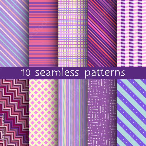 Fototapeta 10 striped vector seamless patterns. Can be used for textile, website background, book cover, packaging.