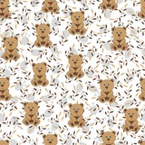 Children's wallpaper in a bowl with leaves. Seamless background for children. Teddy bear, leaves and paws