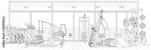 Fotobehang Fitness Drahtgitter CAD Modell von Fitnesscenter
