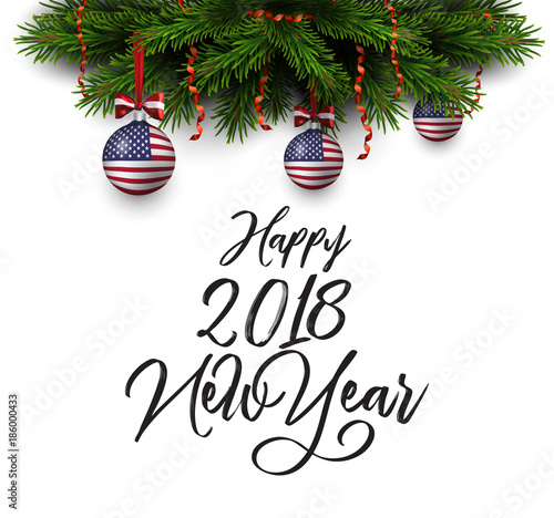 vector border of christmas tree branches with red ribbon and balls with american flag happy