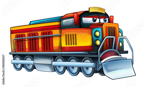 cartoon funny looking train - illustration for children - 186006037
