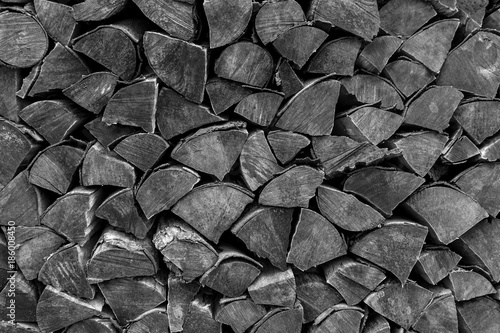 Foto op Aluminium Brandhout textuur Hölzer aufgestapelt