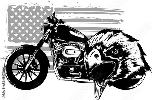 rysunek,-amerykanski-motocykl,-flaga,-glowa-orla,-plakat