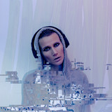 Girl in stylish headphones. Clubbing Dj life Contemporary Glitch art - 186016287