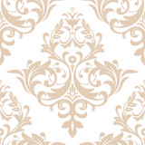 Wallpaper in the style of Baroque. A seamless vector background. Beige and white texture. Floral ornament. Graphic vector pattern