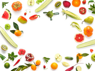 Various vegetables and fruits isolated on white background, top view, flat layout. Concept of healthy eating, food background. Frame of vegetables with space for text.