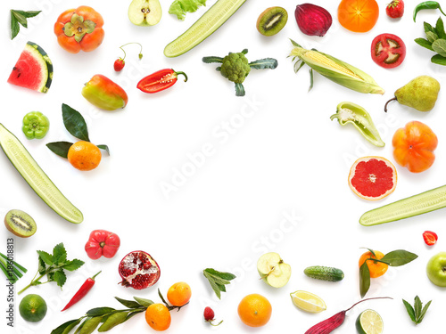 Various vegetables and fruits isolated on white background, top view, flat layout. Concept of healthy eating, food background. Frame of vegetables with space for text. - 186018813