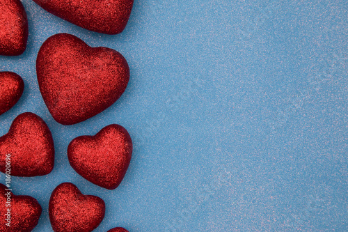 Valentines Themed Background on a Blue Glitter