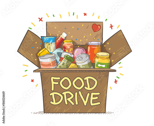 Food Drive charity movement logo vector illustration - 186026669