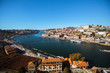 View of Douro river and Ribeira at old downtown of Porto, Portugal.
