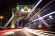 Light trails along Tower Bridge in London - 186034842
