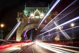 Light trails along Tower Bridge in London