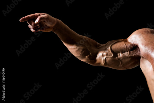 Hand with veins, muscles, biceps, triceps point finger