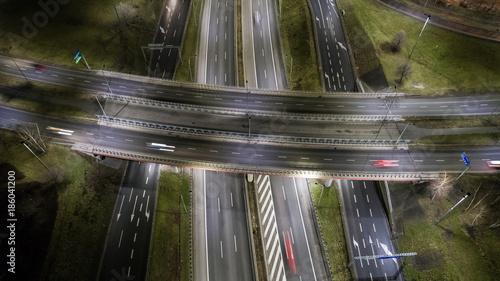 Foto op Canvas Nacht snelweg Polska autostrada