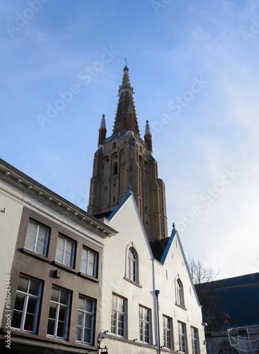 Fotobehang Brugge Church of Our Lady, Bruges, belgium 2017